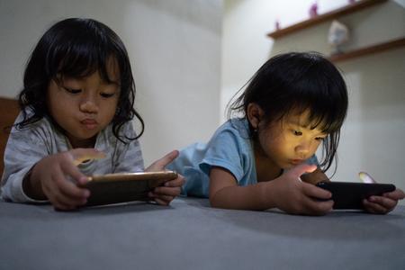 kids with smartphone Stock Photo