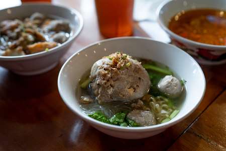 indonesian meatball with vegetable and soup