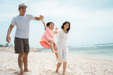 daughter enjoy special moment on holiday Stock Photo