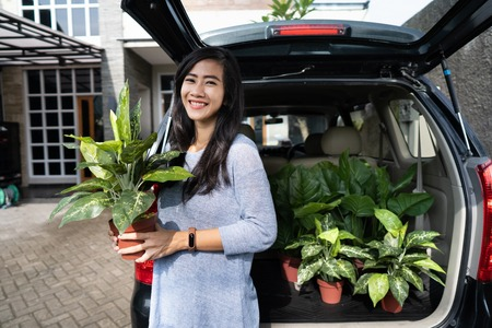 woman purchasing a new plant and flower for her garden