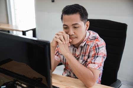 man losing and stress. asian businessman feeling depress Stock Photo