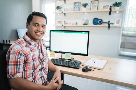 asian man worker relaxed in front of the computer desk