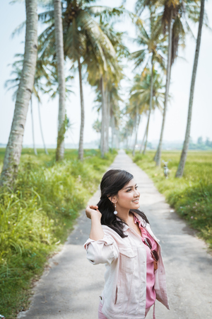 young woman enjoy summer holiday in tropical island Stock Photo