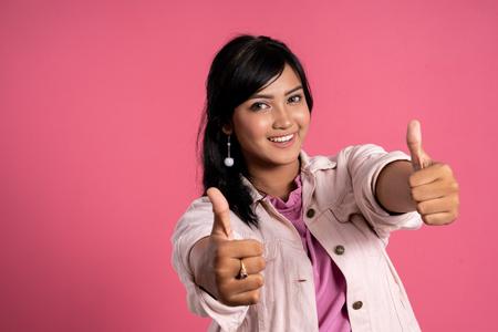 asian woman showing thumb up Stok Fotoğraf - 119369222