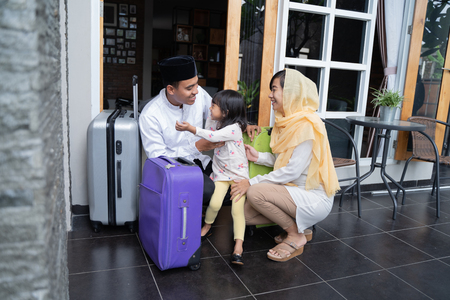 asian muslim family travelling concept Stock Photo