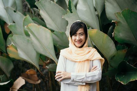 muslim woman with hijab Imagens