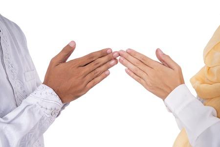musulmán, mano, dedo, punta, tocar, saludo