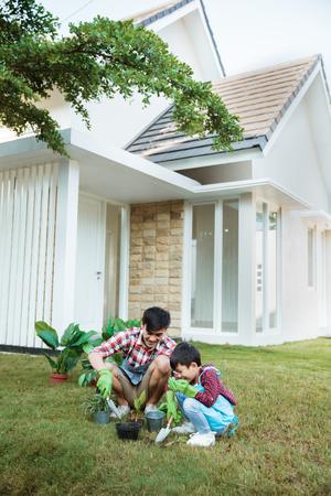 padre e hijo plantando una planta de jardinería en su casa juntos
