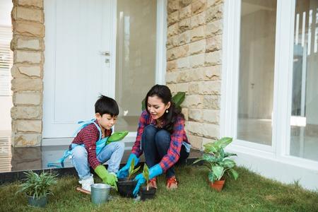 아시아 엄마와 그녀의 아들이 집 정원에 식물을 심다