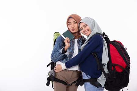 asian muslim woman backpacker isolated