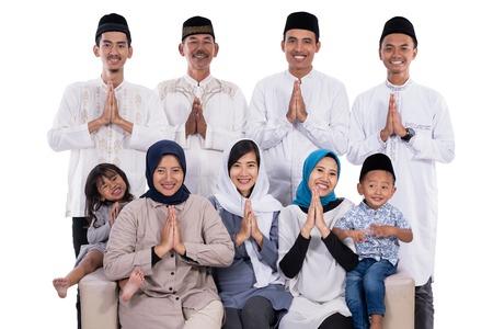 famille musulmane asiatique eid mubarak ramadan kareem Banque d'images