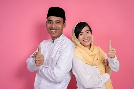 couple muslim asian showing thumb up Stok Fotoğraf