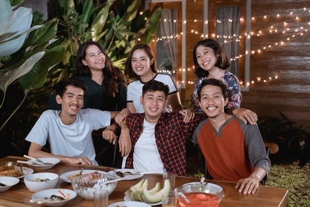 asian friend having dinner party together with friend