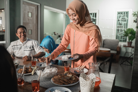 Happiness of friendship when enjoy eating iftar together in  the afternoon Stock Photo