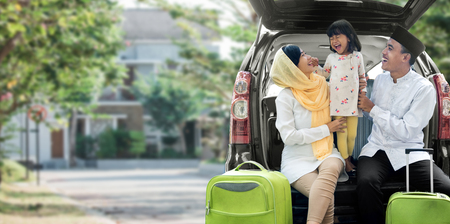 asian muslim family travelling concept Banque d'images