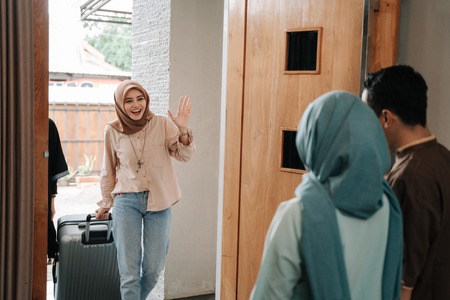 muslim people visiting friend and family on eid mubarak