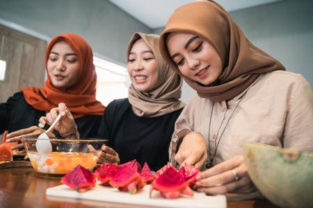 young hijab woman prepare fruits