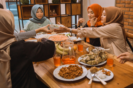 portrait happy family when breaking fast together