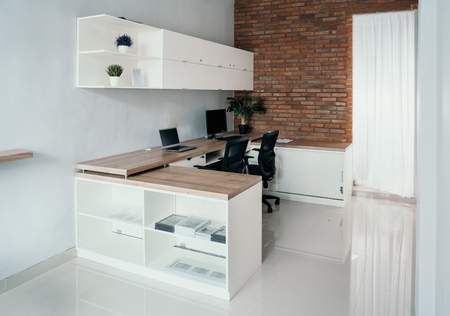 office computer in clean and neat workspace