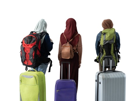 muslim woman eid mubarak travelling concept Stock Photo
