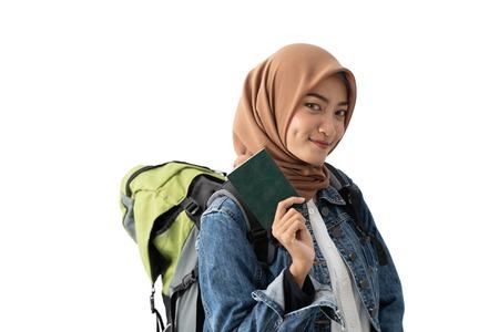 muslim woman backpacker holding passport