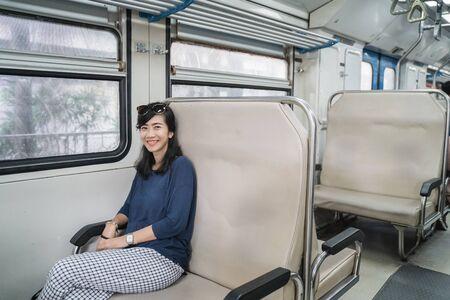 woman in train enjoy the trip