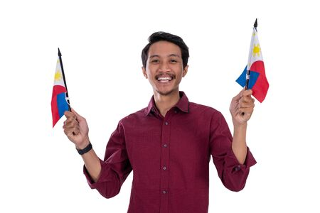 asian young male holding philipines flag