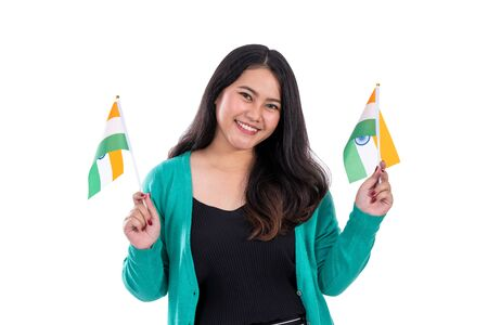 beautiful woman holding india flag