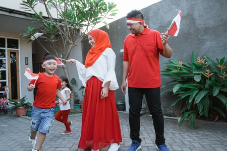 enjoy indonesia national day with family together Stock Photo