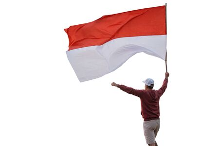 man with indonesian flag isolated over white