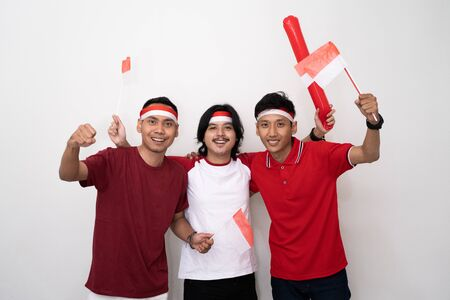 Partidario masculino joven asiático de Indonesia. Foto de archivo
