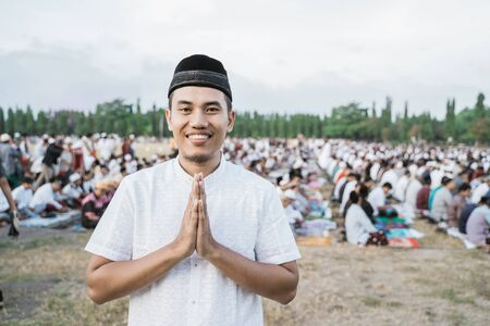 asian young man wearing traditional Javanese clothing