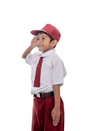 student giving salute Stock Photo