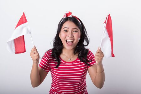 asian woman with indonesian flag