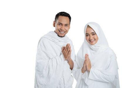 muslim pilgrims wife and husband ready for Hajj