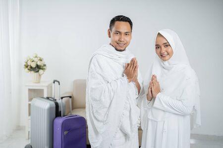 Peregrinos musulmanes esposa y esposo listos para el Hayy