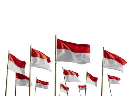 indonesia flag isolated over white Stock Photo