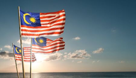 malaysia flags under blue sky independence day concept Stok Fotoğraf