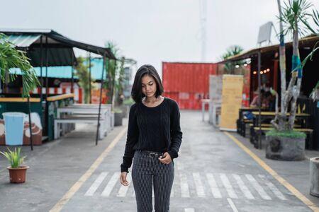 Asian young women walking Stock Photo