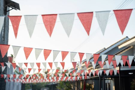 Red and white flag chain indonesia independence day decoration Standard-Bild