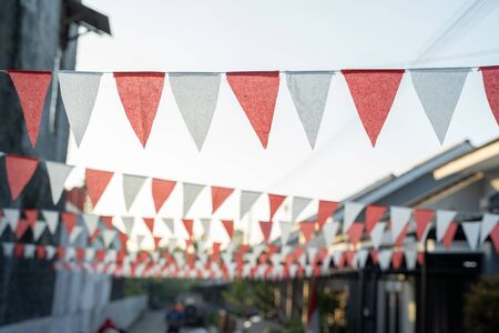 Red and white flag chain indonesia independence day decoration