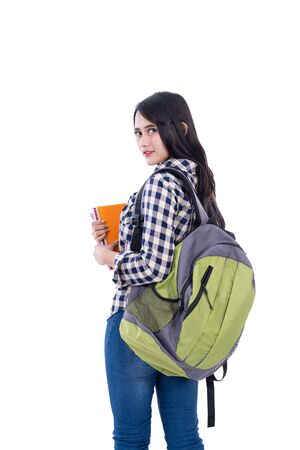 College student holding book
