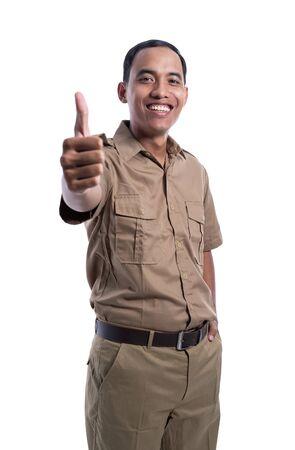 man in brown khaki uniform showing thumb up