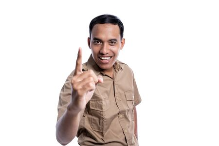 worker pointing to camera. pegawai negeri sipil concept
