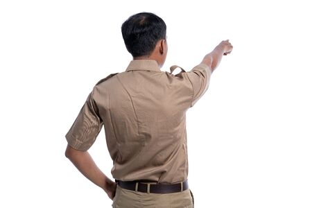 back photo of worker pointing to white background
