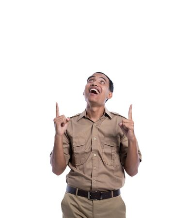 indonesia government worker with brown uniform pointing