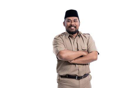 indonesia worker wearing khaki uniform