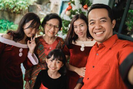 big family selfie on christmas day