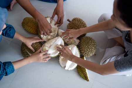 close up of hand of people fight for durian fruit Stock Photo