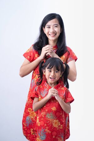 asian girl with Congratulation. chinese new year